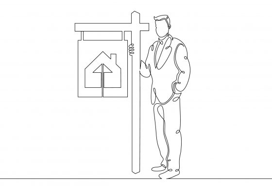 One continuous drawn single art line doodle sketch realtor stands in the signboards of a poster selling a cottage house . The concept of real estate sales